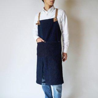 クロスエプロン/ダークネイビー/三河木綿 刺し子織