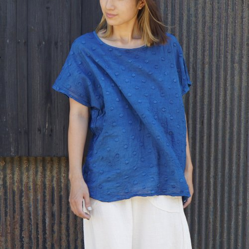ゆるふわドットTシャツ/爽やか2カラー/遠州織物