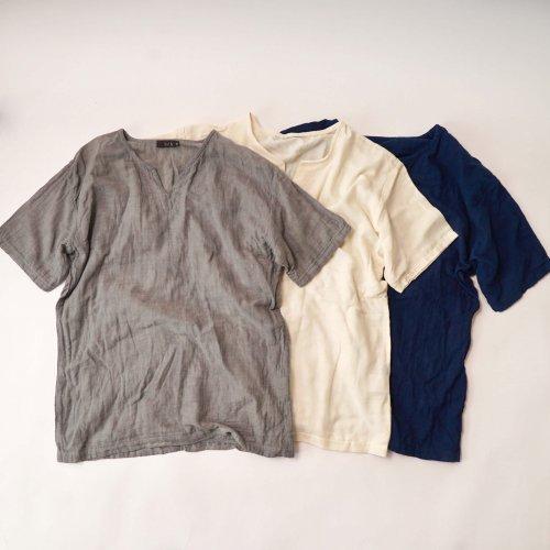 キーネックガーゼTシャツ/4カラー/知多木綿 ダブルガーゼ