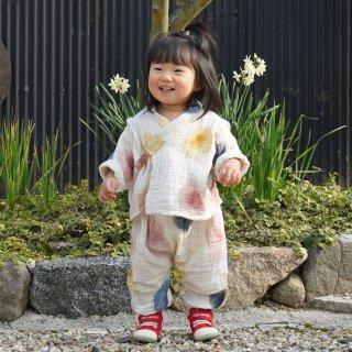 長袖 ベビー甚平/にじみ水玉/知多木綿 3重ガーゼ