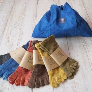 【ギフトセット】草木染めシルクソックス2足 + 藍染あずま袋