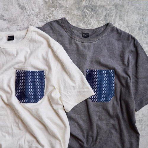 刺し子ポケット 吊り編みスラブTシャツ/和歌山県産 ニット編生地