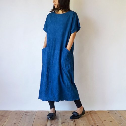 カジュアルワンピース/インディゴブルー/三河織物