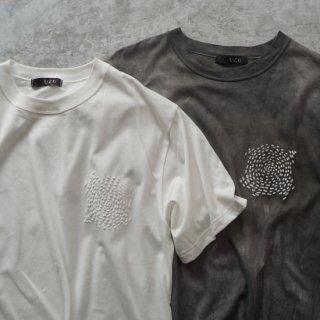 ツブツブデザイン Tシャツ - 生成りor 柿渋グレー/ 和歌山県産 ニット編み生地