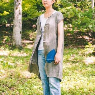 ロング ジレ/グレー/三河織物