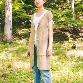 ロング ジレ/カーキ/三河織物