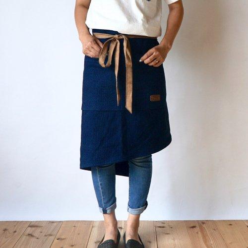 腰巻カフェエプロン/インディゴチェック/三河木綿 刺し子織