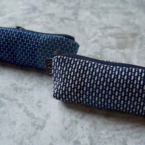 ペンケース/カツオ/遠州織物 刺し子織藍先染め