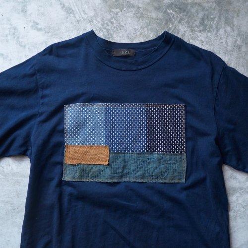 刺し子織パッチアートTシャツ/ブルーグレー/和歌山県産 ニット編生地