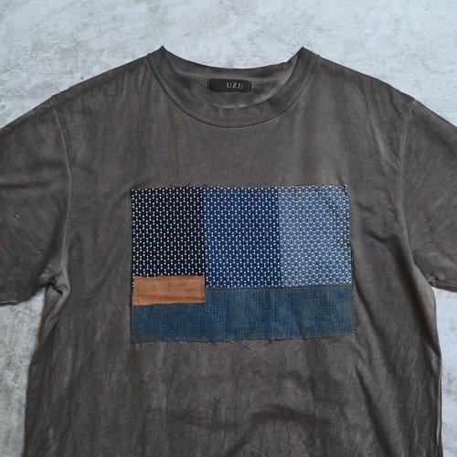 刺し子織パッチアートTシャツ/グレー/和歌山県産 ニット編生地