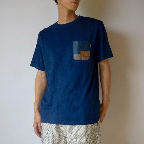 パッチアートポケットTシャツ/本藍染/和歌山県産 ニット編生地