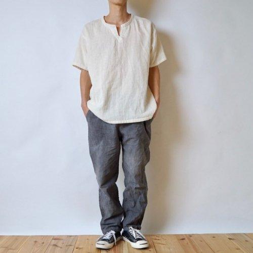 『福袋』キーネックガーゼTシャツ(生成り) + サルエルパンツ(グレー)