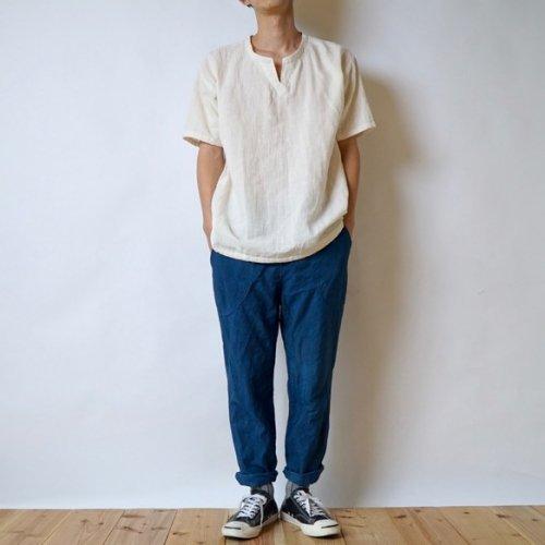 『福袋』キーネックガーゼ Tシャツ(生成り) + サルエルパンツ(ブルーグレー)
