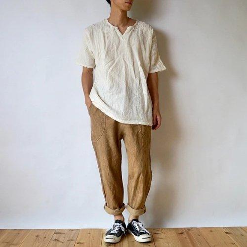 『福袋』キーネックガーゼ Tシャツ(生成り) + サルエルパンツ(ブラウンベージュ)
