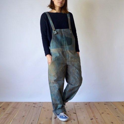 パチポケ サロペット/ビンテージブルー/三河木綿 綾織
