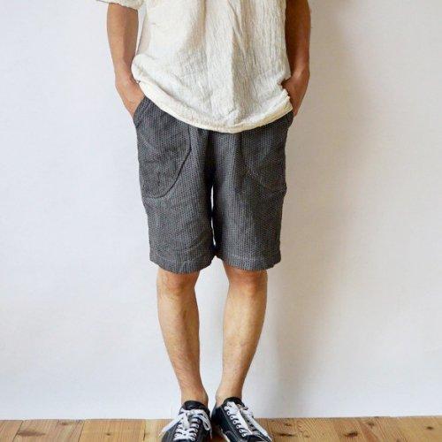 一本刺し子 ハーフパンツ/グレー/三河木綿 刺し子織