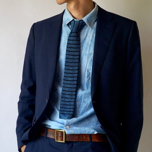 ニットタイ/ボーダー本藍染 / 美濃和紙糸