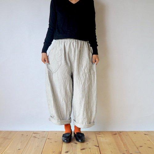 一本刺し子 サーカスパンツ/生成り/三河木綿 刺し子織