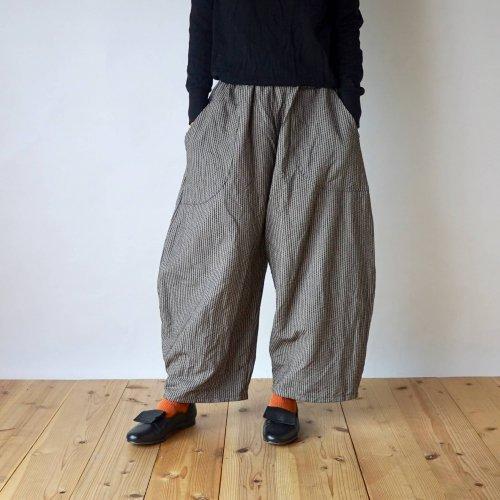よろけ縞一本刺し子 バルーンパンツ/コーヒーブラウン/三河木綿 刺し子織
