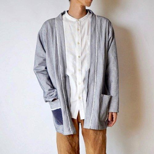 羽織りジャケット/生成り/三河木綿刺し子織