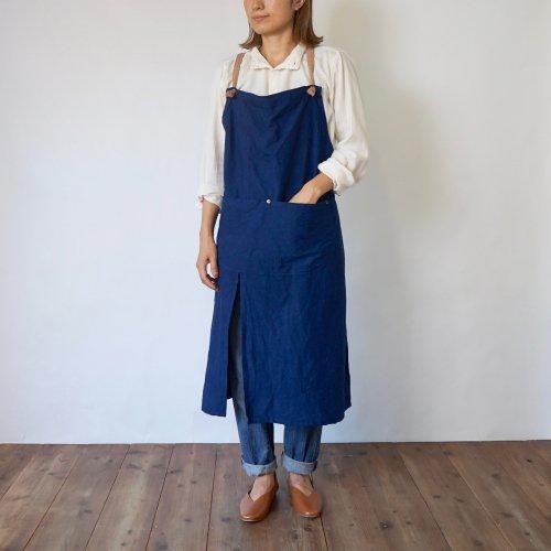 クロスエプロン/ブルーグレー/三河織物 綾織