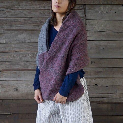スヌードポンチョ/くすみレッド/三河織物