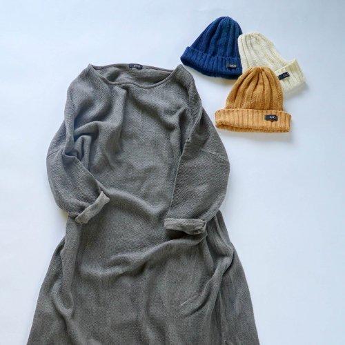 『福袋』あったか肉厚ワンピース/グレー + シルクニット帽/3カラー