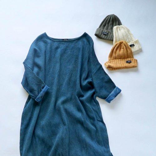 『福袋』あったか肉厚ワンピース/ブルーグレー + シルクニット帽/3カラー