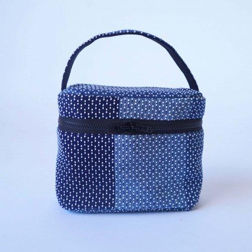 バニティポーチ/インディゴ刺し子織/遠州織物