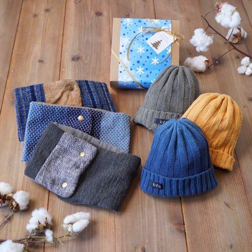 クリスマスギフト2点セット/シルクニット帽+ネックウォーマー(遠州織物)
