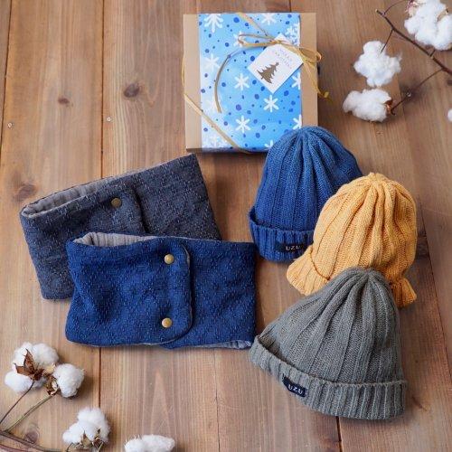 クリスマスギフト2点セット/シルクニット帽+ネックウォーマー(三河織物)