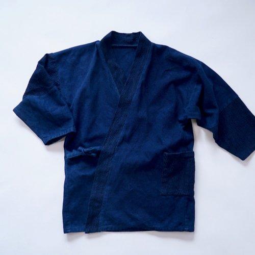 パッチワーク作務衣/本藍染/三河木綿 刺し子織
