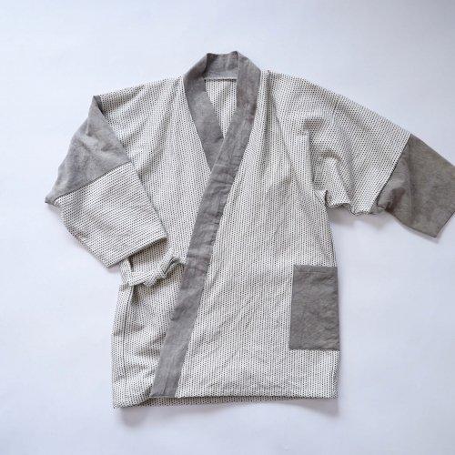 パッチワーク作務衣/一本刺し子/三河木綿 刺し子織