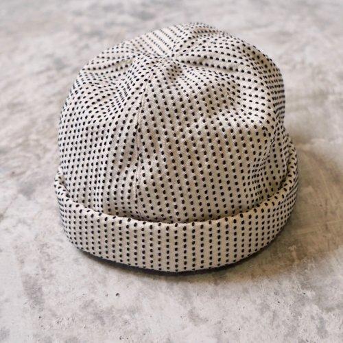 ロールキャップ/一本刺し子生成り/三河木綿 刺し子織