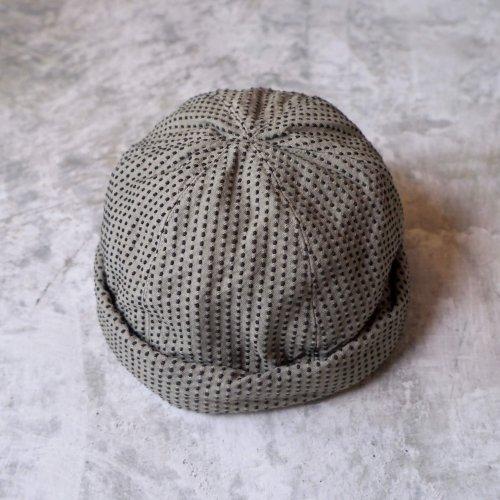 ロールキャップ/一本刺し子カーキ/三河木綿 刺し子織