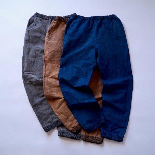 ジョガーパンツ 麻柄アクセント/3カラー/三河織物