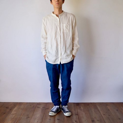 『福袋』ノーカラー ガーゼシャツ/生成り+ジョガーパンツ/ブルーグレー 2点セット