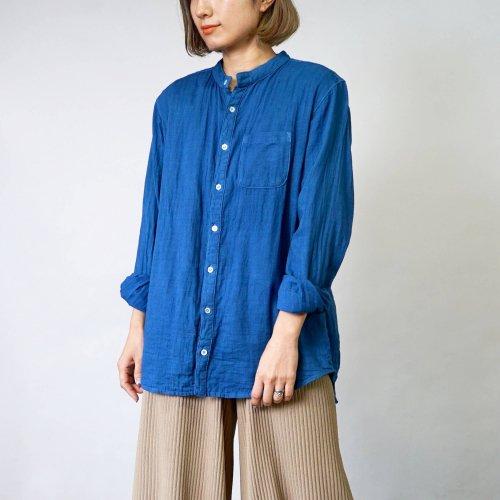 ノーカラー ガーゼシャツ/本藍染/知多木綿