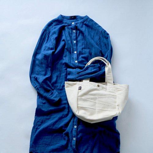 【福袋】ノーカラー ガーゼシャツワンピース/ブルー+デイリートートバッグ/生成り
