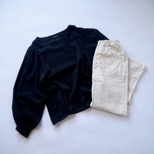 【福袋】バルーンスリーブトップス/ブラック+サルエルパンツ/生成り