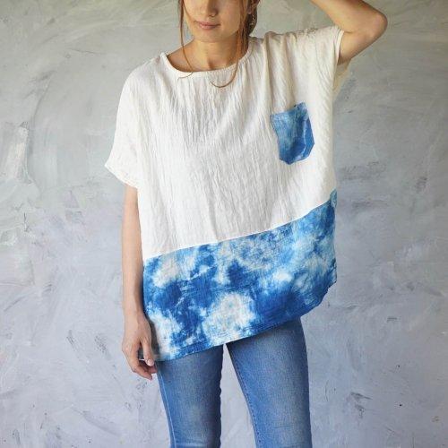 ゆったりガーゼTシャツ/ツートンまだらインディゴ/知多木綿 ダブルガーゼ