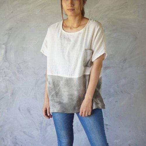 ゆったりガーゼTシャツ/ツートンまだらカーキ/知多木綿 ダブルガーゼ