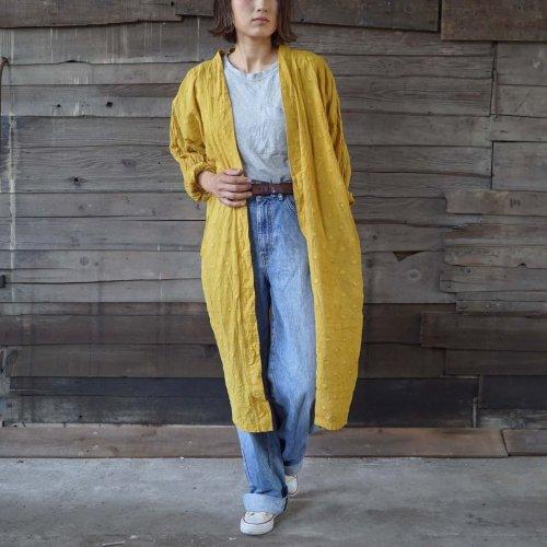 シースルー羽織りガウン/ドットイエロー/遠州織物