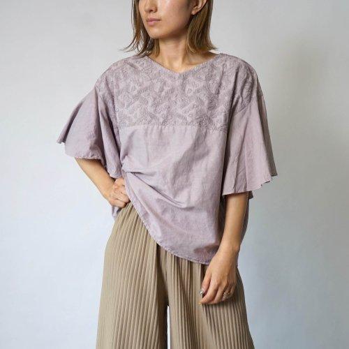 刺繍フリルスリーブTシャツ/ベージュ/三河織物