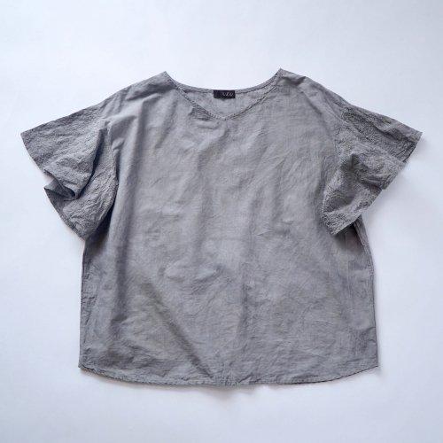 刺繍フリルスリーブTシャツ/グレー/三河織物