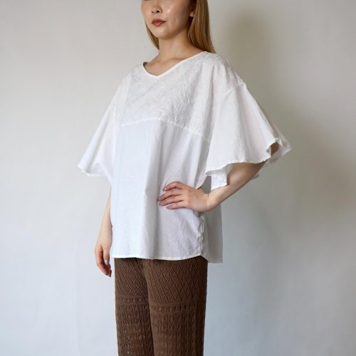 刺繍フリルスリーブTシャツ/ホワイト/三河織物