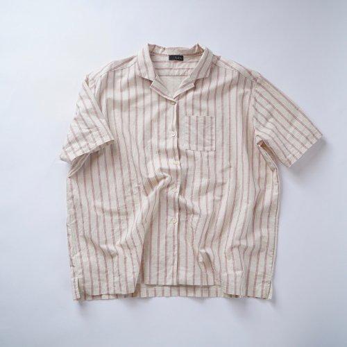 レッドストライプシャツ/ハーフリネン/三河織物