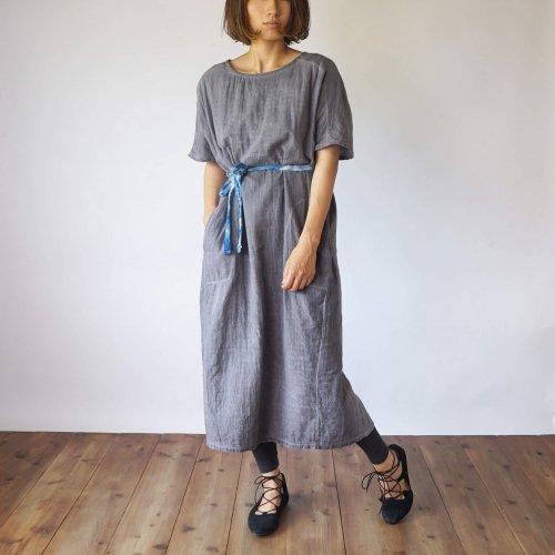 2way切り替えガーゼワンピース/グレー/三河織物