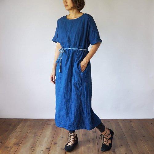 2way切り替えガーゼワンピース/インディゴブルー/三河織物