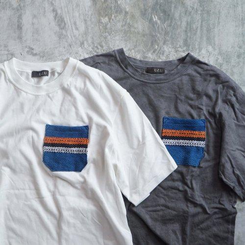 ポケットTシャツ(青海波)/生成りor 柿渋グレー/ 和歌山県産ニット